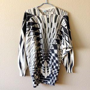 Vintage Geometric Beaded Dolman Oversized Sweater